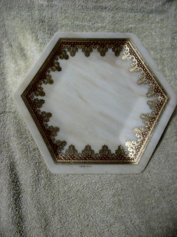 Vintage Hexagon Plate by Georges Briard RARE Marble Gold Finish Just 8 USD