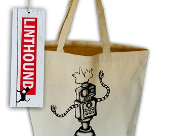 Robot Natural Canvas Grocery Tote Bag