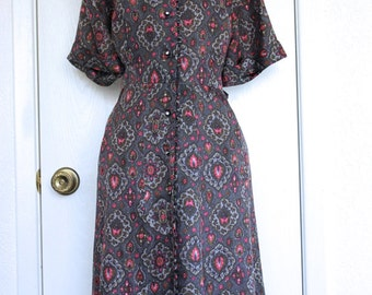 Gray Floral 1950's Nylon Shirtwaist Dress