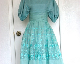 Seafoam Embroidered Organza Formal Gown