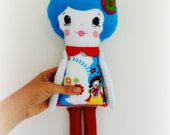 Rag Doll, Cloth Doll, Fabric Doll ,Handmade Vintage Doll, Blue, Red, Snow White