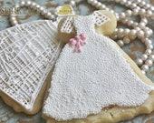 Beaded Wedding Dress Decorated Sugar Cookies