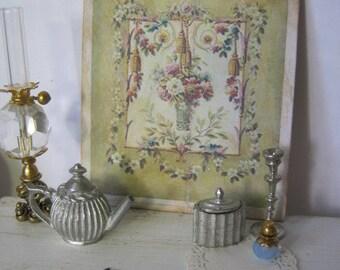Pistachio Green Aubusson Print for Dollhouse