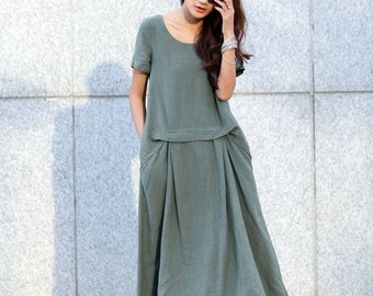 Maxi Dress Loose Fitting Sundress Short Sleeve Summer Dress in Dark Green - NC363