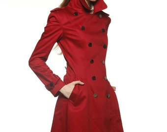 Wine Red Big Lapel Cotton fitted dress coat Double Breasted Military Trench Coat for Spring or  Autumn- NC478