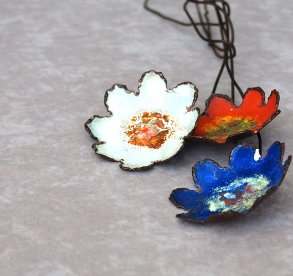 Vintage craft supply, flower decor, metal glazed flowers on wire stems, set of 3. Blue, orange, white, yellow speckled.