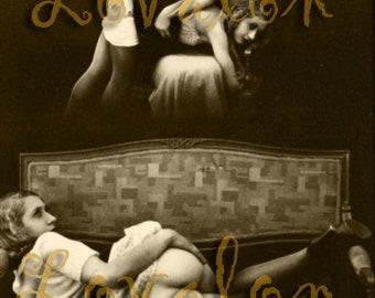 MATURE... Dreams of Discipline... Instant Digital Download... 1930's Vintage Nude Fetish Photo