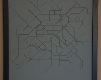 Paris Typographic Transit Map Poster - Black and Gray