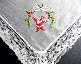 Vintage Handkerchief, Embroidered Handkerchief, Lace Handkerchief, Lace Hankie, Holiday Hankie, Hankerchief, Santa, All Vintage Hankies