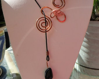 Leather Necklace, Lariat Necklace, Copper Pendant With Greek Leather, brown black