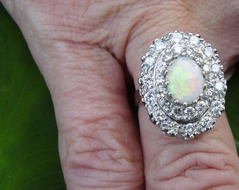Estate Australian Opal and Diamond Ring  Size 7