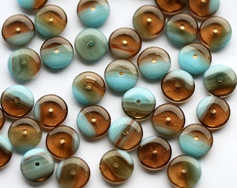 25pc Glass Rondel Beads, Brown and Blue beads, czech glass, 9mm rondelle, spacer - 0527