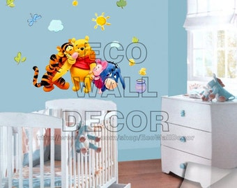 PEEL and STICK Kids Nursery Removable Vinyl Wall Sticker Mural Decal Art - Winnie the Pooh Tigger and Friend Hugging