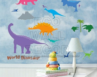 PEEL and STICK Kids Nursery Removable Vinyl Wall Sticker Mural Decal Art - Dinosaur World