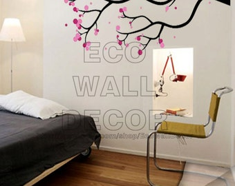 PEEL and STICK Removable Vinyl Wall Sticker Mural Decal Art - Pink Plum Blossom Flower