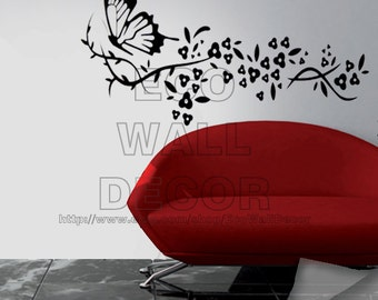 PEEL and STICK Removable Vinyl Wall Sticker Mural Decal Art - Black Giant Flying Butterflies & Hanging Flowers