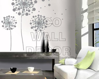 PEEL and STICK Removable Vinyl Wall Sticker Mural Decal Art - Blossom In The Wind (Light Gray Color)
