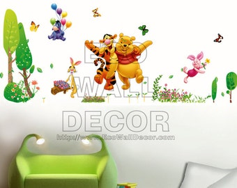 PEEL and STICK Removable Vinyl Wall Sticker Mural Decal Art - Disney Winnie the Pooh and Tigger Playing and Hugging in the Garden