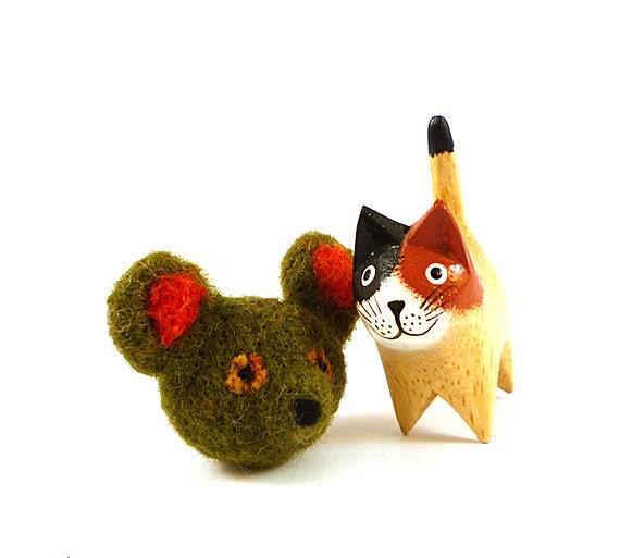 Olive Green Teddy Bear Wool Catnip Cat Toy