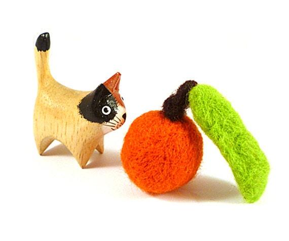 Chinese New Year Tangerine Orange Catnip Cat Toy - Needle Felted Wool