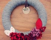 Yarn Holiday Wreath with Dimensional Felt Flowers, Grey, Red,  White, 12 Inch Wreath by Catshy Crafts