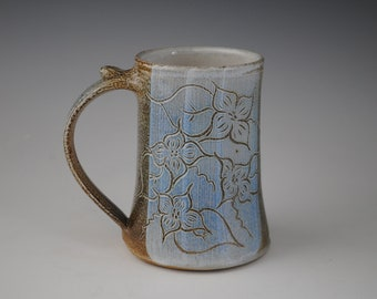Blue Stein with Floral Decoration