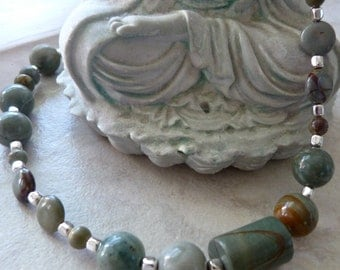 Soft Gray Red Creek Jasper and Sterling Silver Simply Elegant Artisan Necklace