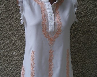 Vintage India Embroidered Sleeveless Shirt, size S-M
