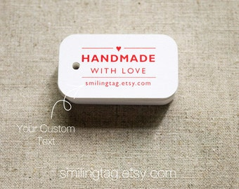 Handmade with Love Tags -Personalized Gift Tags - Handmade by- Thank you tags - Hang tags - Wedding Gift Tags - Set of 40 (Item code: J297)
