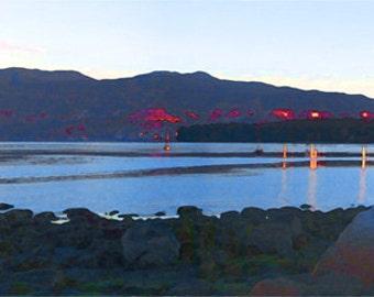 Kitsilano Beach, North Shore Mountains, Vancouver, BC, British Columbia, Pacific Ocean, Lower Mainland, ocean shore, Canada, ocean dawn