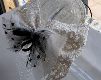 Ivory Lace Black Tulle Crystal Bow Sinamay Fascinator Hat with Veil and Satin Headband, for weddings, bridesmaid, parties, special occasions
