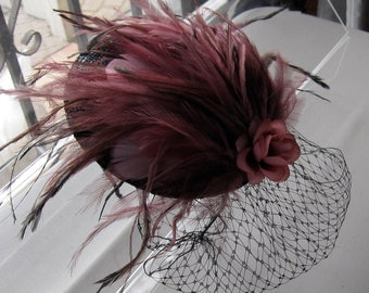 Mauve Pink Feather Flower Black Straw Fascinator Hat with Veil and Satin Headband, for weddings, parties, cocktail, special occasions