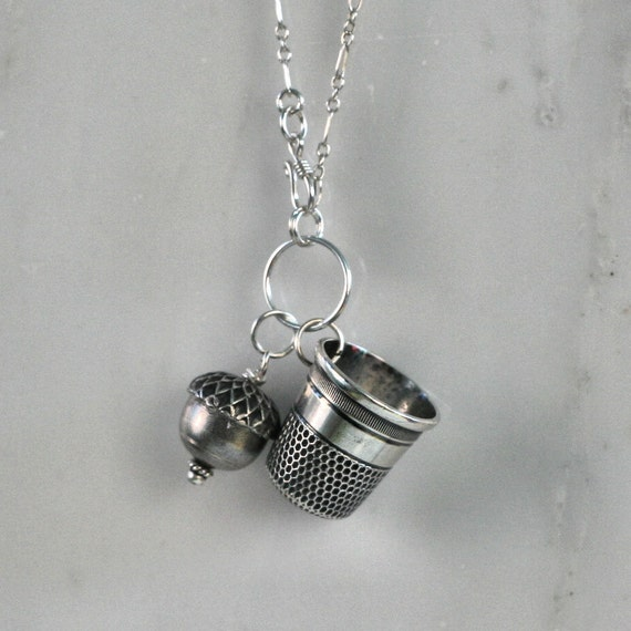 Peter Pan and Wendy Kisses Necklace in Solid Sterling Silver Thimble and Acorn