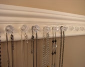 WOW Jewelry organizer  necklace holders with 11 decorative small acrylic  knobs with off white finish 15 inches