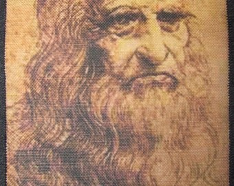 Printed Sew On Patch - LEONARDO SELF PORTRAIT - Leonardo da Vinci 1452 - 1519