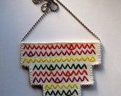 Embroidered bib necklace tribal zigzag green purple yellow red