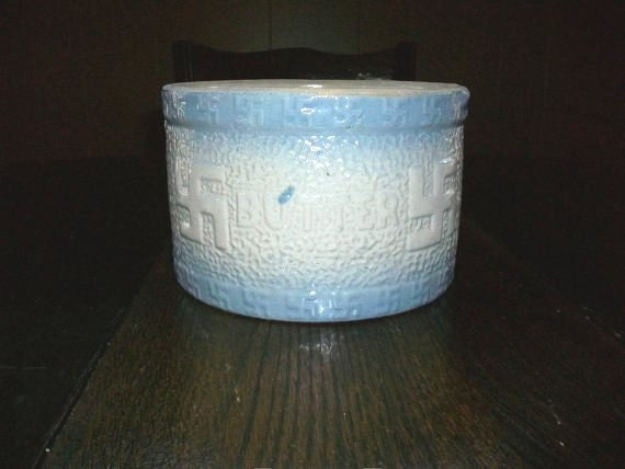 Reserved for Christina Vintage Butter Crock Blue and White w/ Good Luck Swastikas