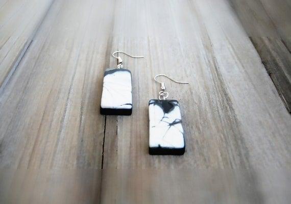OOAK Polymer Clay Earrings, Black And White Earrings, Clay earrings, Dangle Earrings