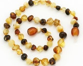 Multi color Baltic Amber Baby Teething Necklace