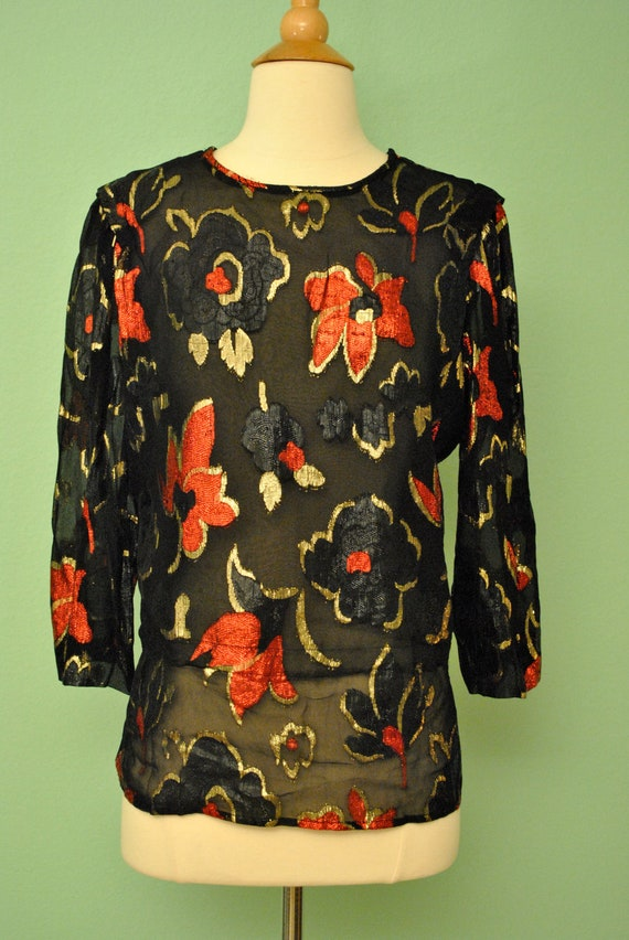 Vintage Black Sheer Top with Metallic Floral Rose Print in Black Gold and Red Disco Retro Chiffon Blouse