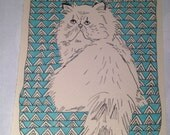 Persian cat illustration, pet portrait, one-of-a-kind line drawing with blue geometric background
