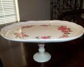 Cake Plate, Serviing Platter, Suzy Qs Originals Cake Plate, Cottage Rose Plate, Roses Cake Plate, Country Cupcake Plate, Wedding Cake Plate