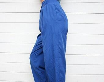 Vintage 80s Bright Blue High Waist Pleated Pants
