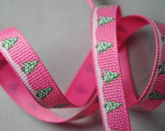 Christmas Trees on Pink Grosgrain - 4 yards, 3/8 inch wide