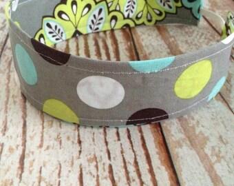 Reversible Fabric Headband - Children Toddler Girls - Gray Paisley/Multi Dot- READY TO SHIP
