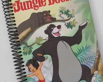 JUNGLE BOOK Walt Disney upcycled book journal notebook - Recycled Upcycled Earth Friendly - Red, Black, White
