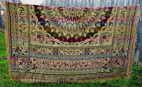Vintage Tapestry Piano Scarf Antique Woven Exotic Silk Large