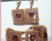 Glamorous golden and light purple squares jewelry set Japanese seed beads Swarovski crystals bracelet cuff Right Angle Weave gift