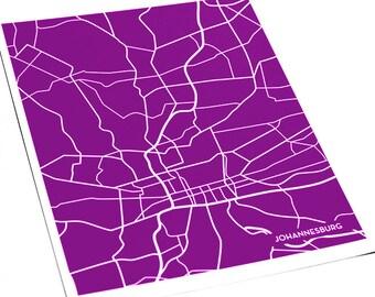 Johannesburg Line Art Map Print / South Africa City Map Wall Art 8x10 / Custom colors