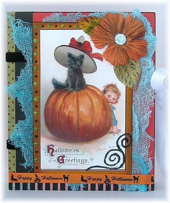 Halloween Scrapbook, Photo Album, Smash Book, Adorable Black Cat and Pumpkin